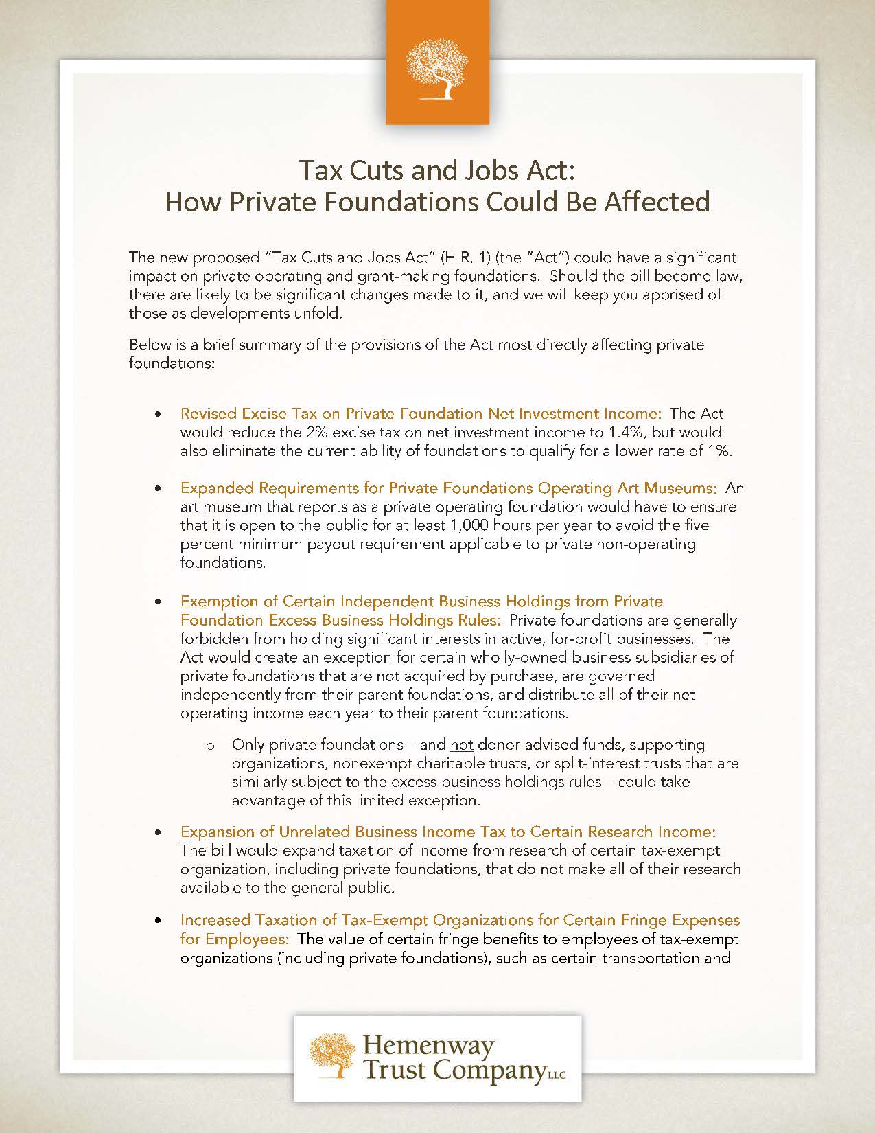 Private Foundations Tax Cuts and Jobs Act